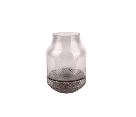 pt, vase en verre gris moyen Ø16x23,5cm