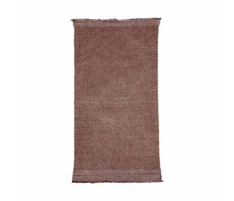 Housedoctor Tapis Shander lumière rouge Burnt Henna coton rose, 200x90cm de jute