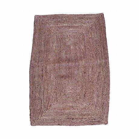 Housedoctor Estructura de la alheña alfombra de color rosa roja cáñamo 85x130cm