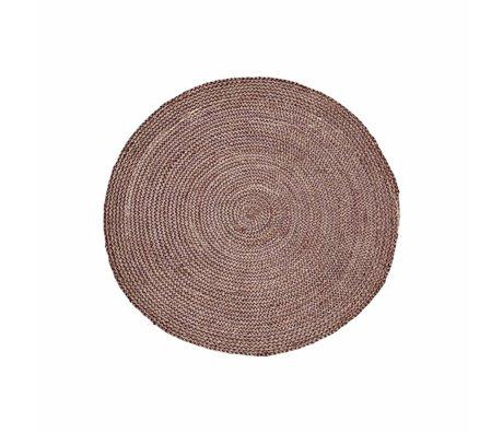 Housedoctor Estructura de la alheña alfombra de color rosa roja cáñamo ∅ 100cm