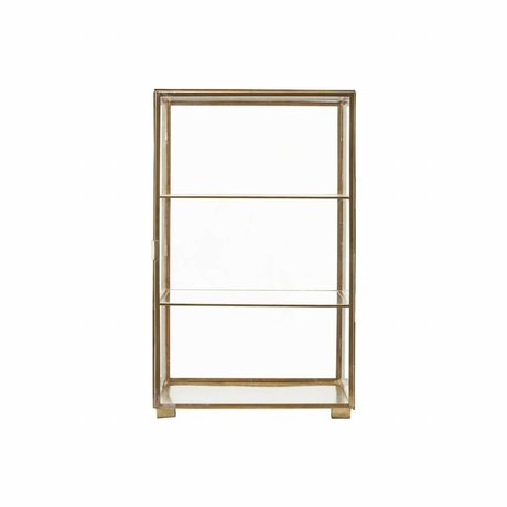 Housedoctor Cabinet gold iron glass 35x35x56.6cm