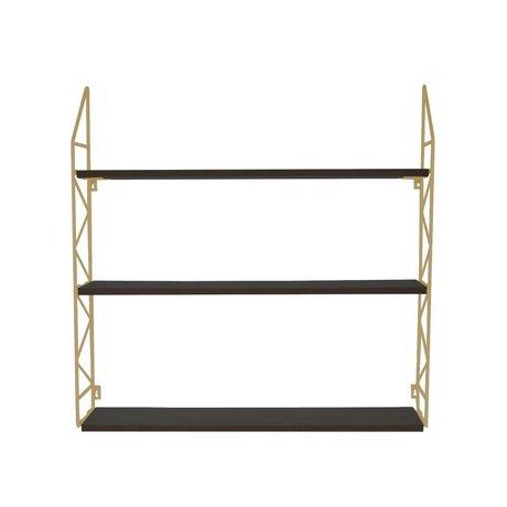 pt, Wallrek zigzag gold metal wood 60x60x11cm
