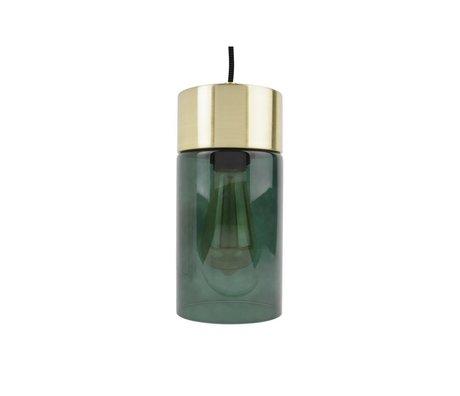Leitmotiv Lax luz colgante de oro Ø12cmx24,5cm vidrio verde