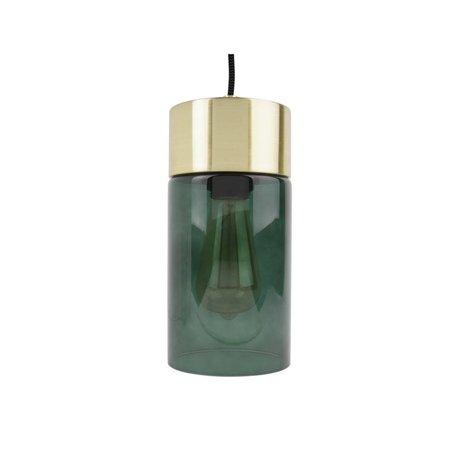 Leitmotiv Lax gold pendant light green glass Ø12cmx24,5cm