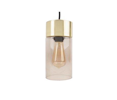 Leitmotiv Lax guld vedhæng lys grå glas Ø12cmx24,5cm