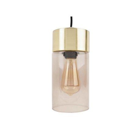 Leitmotiv Lax altın kolye açık gri cam Ø12cmx24,5cm