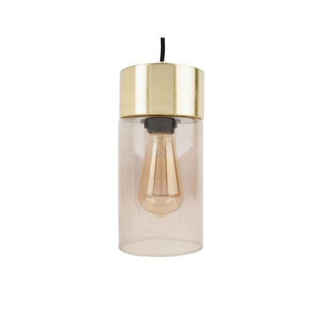 Leitmotiv Lax gold pendant light gray glass Ø12cmx24,5cm