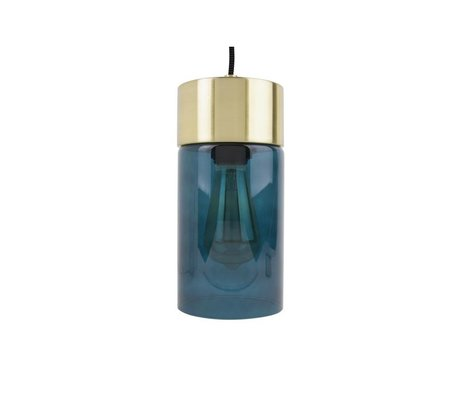 Leitmotiv Lax gold pendant lightblue glass Ø12cmx24,5cm