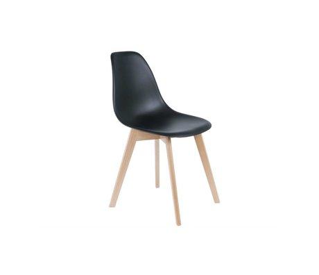 Leitmotiv Elementary Dining Chair black plastic wood 80x48x38cm