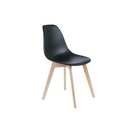 Leitmotiv İlköğretim Yemek Sandalye siyah plastik kereste 80x48x38cm