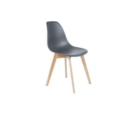 Leitmotiv Yemek sandalyesi temel gri plastik kereste 80x48x38cm