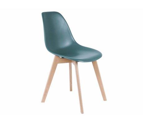 Leitmotiv Dining chair elemental blue plastic wood 80x48x38cm