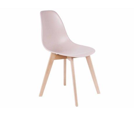 Leitmotiv Yemek sandalyesi temel parlak pembe plastik kereste 80x48x38cm