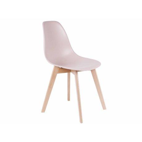 Leitmotiv Spisebordsstol elementær lys rosa plast tømmer 80x48x38cm