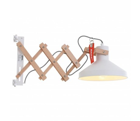 Anne Lighting Applique Woody Schere ø23x40-66cm Métal blanc Bois Métal