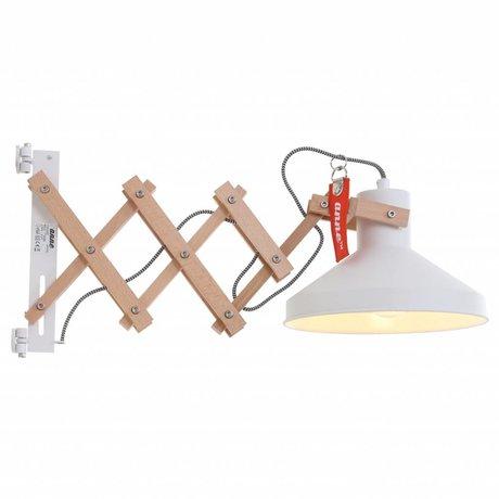 Anne Lighting Duvar lambası Woody Schere beyaz ø23x40-66cm Metal Ahşap Metal