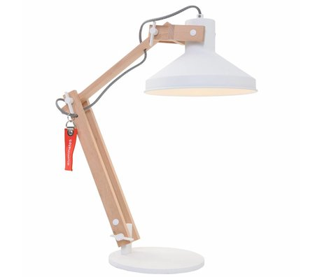 Anne Lighting Table lamp Woody white metal wood metal ø23x68cm