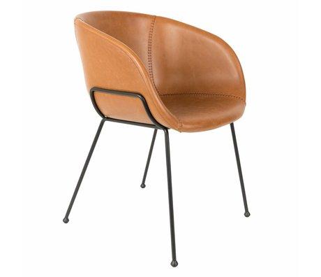 Zuiver Yemek sandalyesi Feston kahverengi deri 54,5x53x88,5cm