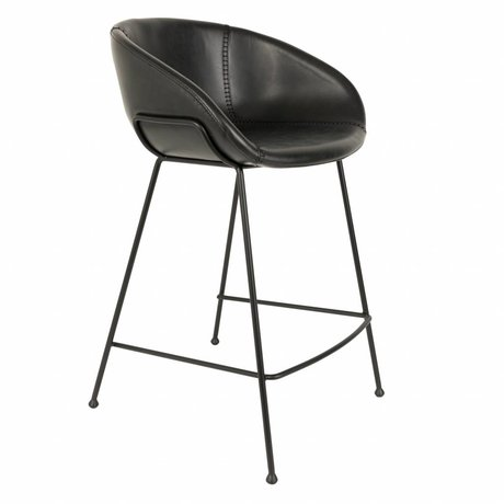 Zuiver Stool Feston sort kunstlæder 54,5x53x88,5cm