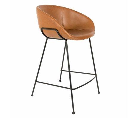 Zuiver Tabouret de bar feston cuir marron 54,5x53x88,5cm