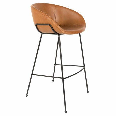 Zuiver Tabouret de bar feston cuir marron 54,5x53x98,5cm