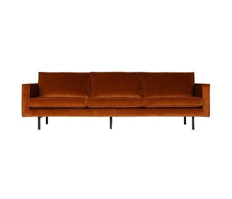 BePureHome 3-personers sofa Rodeo rust appelsin fløjl fløjl 85x277x86cm