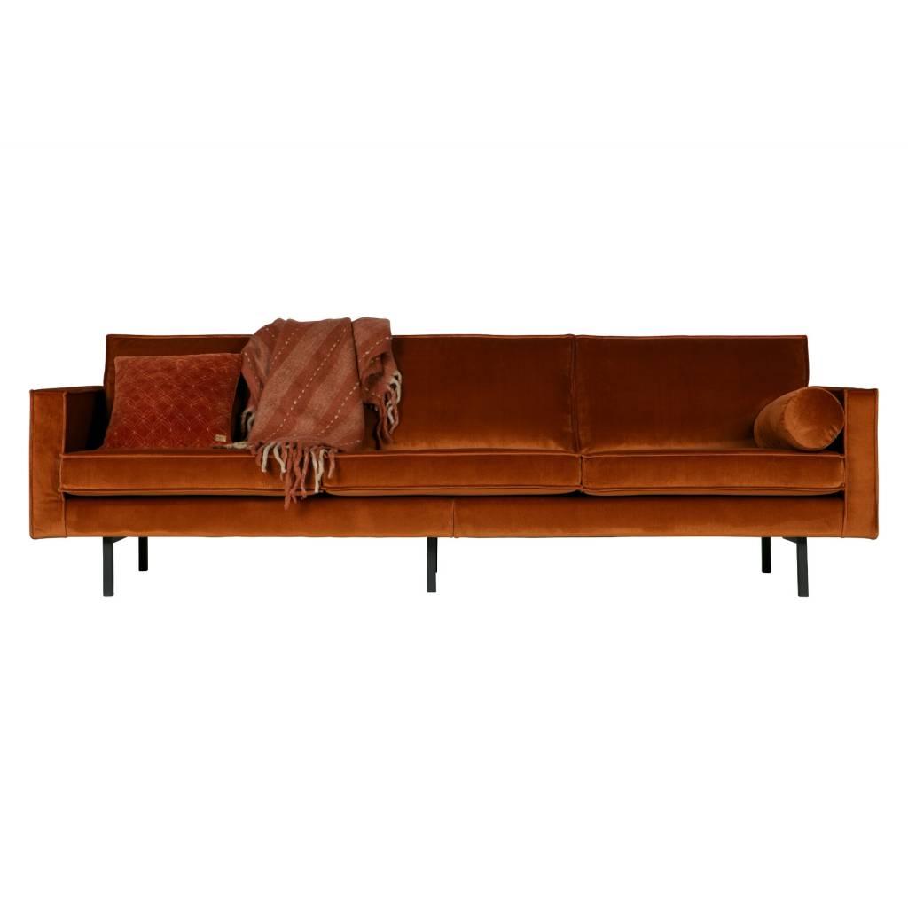 Bepurehome divano 3 posti rodeo ruggine di velluto arancio - Lunghezza divano 3 posti ...