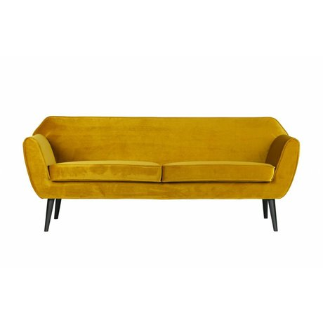 LEF collections Bench Rocco sofa ocher velvet polyester 75x187x82cm