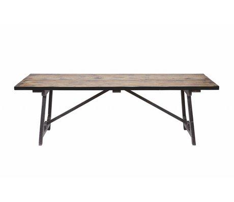 BePureHome table Craft brun 76x220x90cm bois noir
