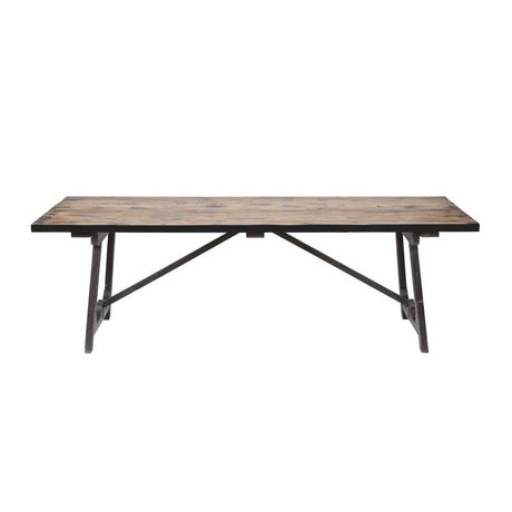 BePureHome table Craft brun 76x220x90cm bois noir