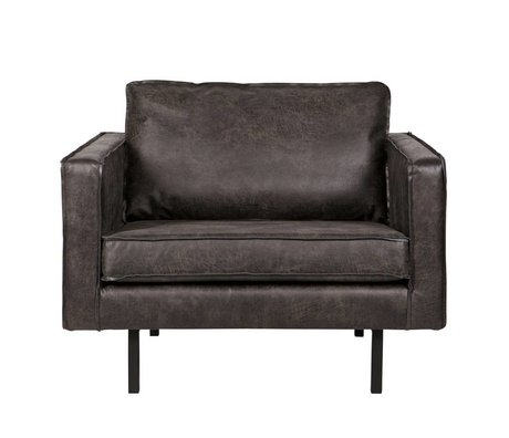 BePureHome Armchair Rodeo black leather 105x86x85cm