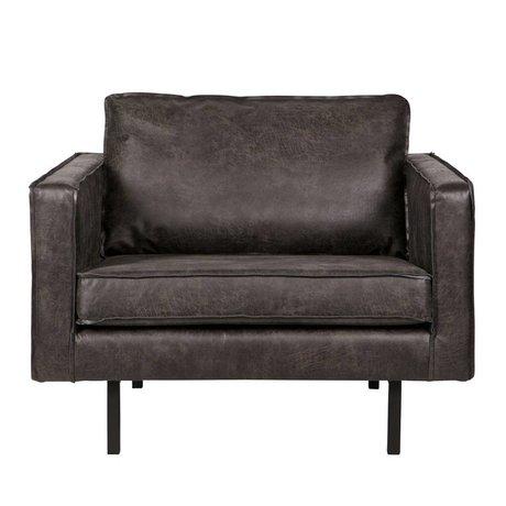 BePureHome Fauteuil Rodeo 105x86x85cm en cuir noir