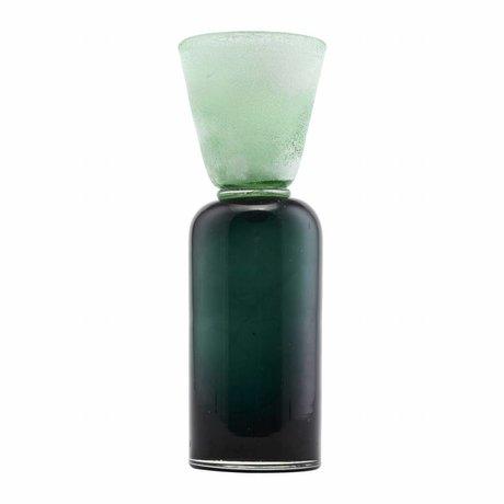 Housedoctor Kerzenhalter Funnel blau grün Glas Ø9x28cm