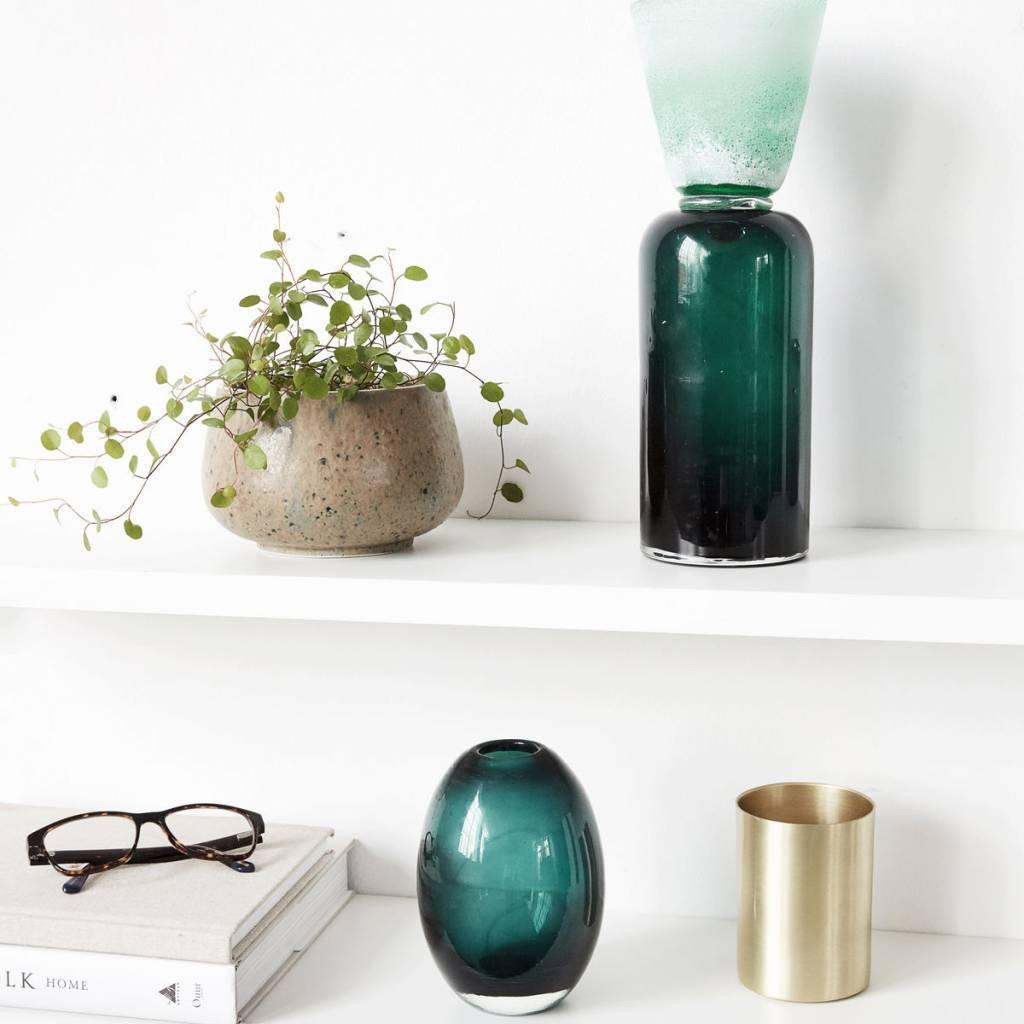 housedoctor kerzenhalter funnel blau gr n glas 9x28cm. Black Bedroom Furniture Sets. Home Design Ideas