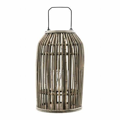 Housedoctor Luce Ova natura Rotan metallo vetro Ø20x32cm