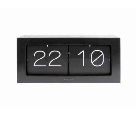 Karlsson Flip Clock Boxed sort stål 17,5x37cm