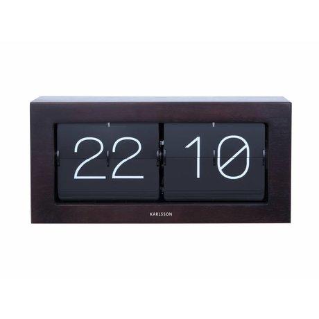 Karlsson Flip Clock Boxed acier bois brun foncé 17,5x37cm