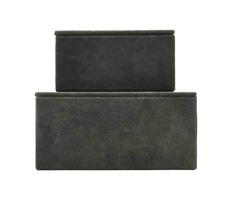 Housedoctor Storage set Suede green leather MDF paper set of 2
