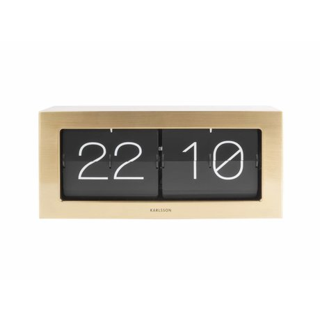 Karlsson Flip Clock Boxed guld stål 17,5x37cm