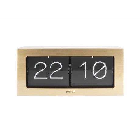 Karlsson Flip-Uhr Boxed goldfarben Stahl 17,5x37cm