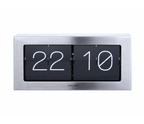 Karlsson Capovolgere 17,5x37cm Clock Boxed d'acciaio d'argento