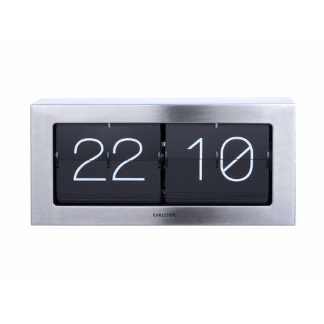 Karlsson Flip Clock Boxed Sølv Stål 17,5x37cm