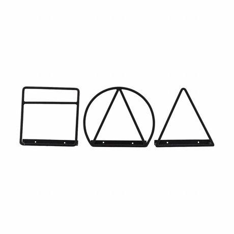 Housedoctor Porte-revues fer noir 20cm Loge Ensemble de 3