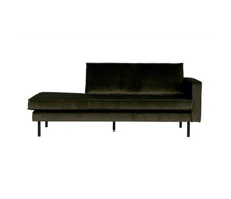 BePureHome Banque verte Hunter chaise longue velours vert droit velours 203x86x85cm