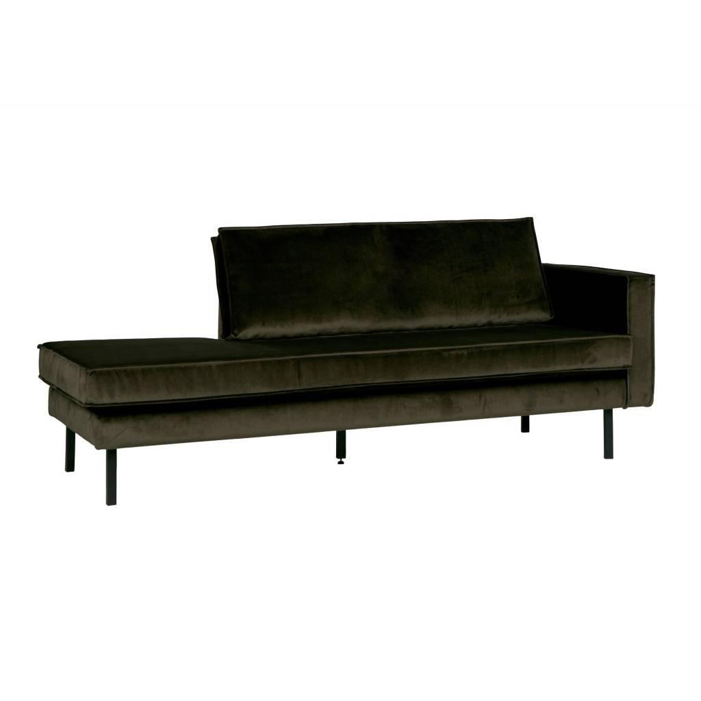 bepurehome banque verte hunter chaise longue velours vert droit velours 203x86x85cm. Black Bedroom Furniture Sets. Home Design Ideas