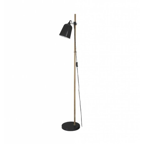 Leitmotiv Floor lamp wood-like black metal 15x14x149cm