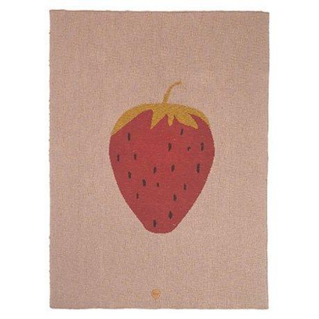Ferm Living Decke Strawberry rosa Baumwolle 80x100cm