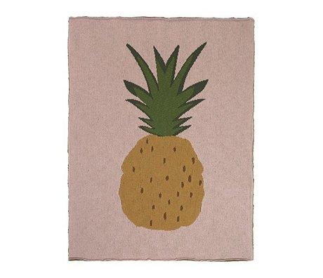 Ferm Living Loft Pineapple lyserød brun bomuld 80x100cm