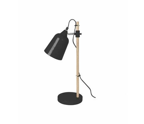 Leitmotiv Bordlampe Wood-lignende black metal Ø12x14x48,5cm