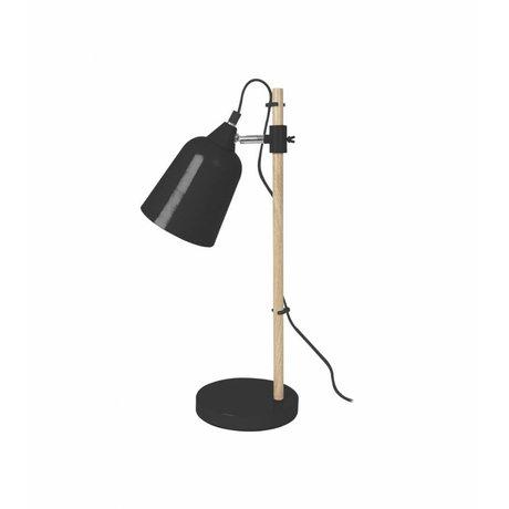 Leitmotiv Tischlampe Wood-Like schwarz Metall Ø12x14x48,5cm